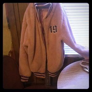 Pink faux fur forever 21 jacket (L) varsity style